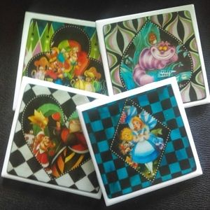 Alice In Wonderland Drink Coaster Set Of ;4 NEW